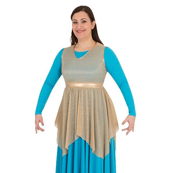 Body Wrappers Liturgical Dance Micro Pleated Metallic Tunic