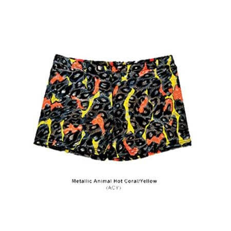 Body Wrappers Trendy Hot Shorts Metallic Animal Hot Coral