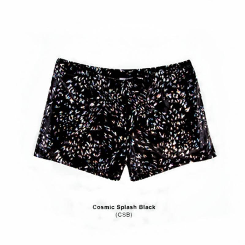 Body Wrappers Adult Print Hot Shorts Cosmic Splash Black