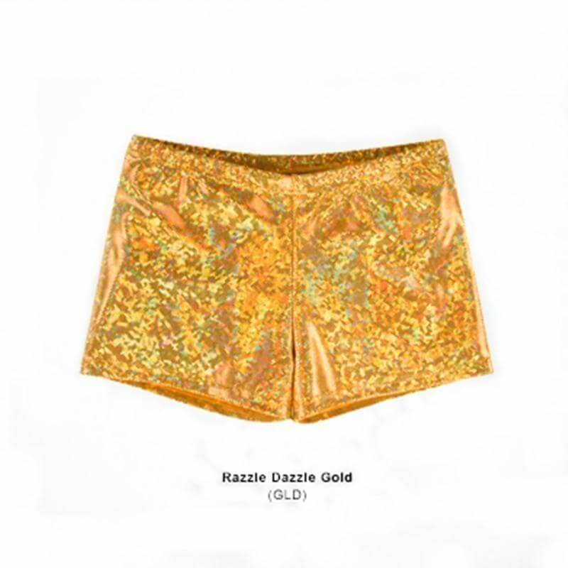 Body Wrappers Adult Print Hot Shorts Razzle Dazzle Gold