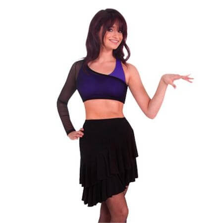 Body Wrappers Adult Power Mesh Asymmetrical Long Sleeve Shrug