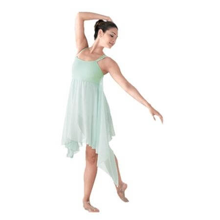 Body Wrappers Convertible Asymmetrical Dance Dress with Versatile Chiffon Drape
