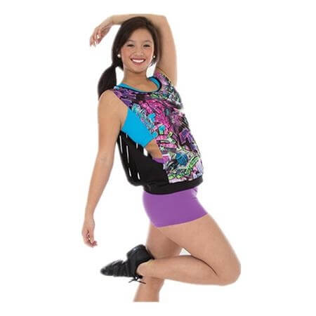 Body Wrappers Neon Graffiti Print Tank Pullover with Free Flo Black Slit Back