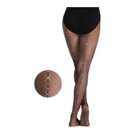 Body Wrappers TotalSTRETCH Rhinestone Backseam Fishnet Tights