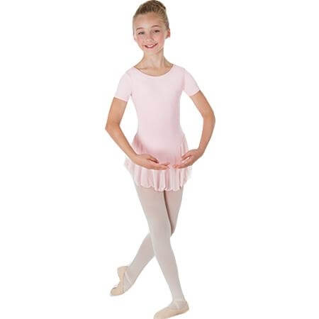 Body Wrappers Color Custom Child Short Sleeve Chiffon Skirted Leotard