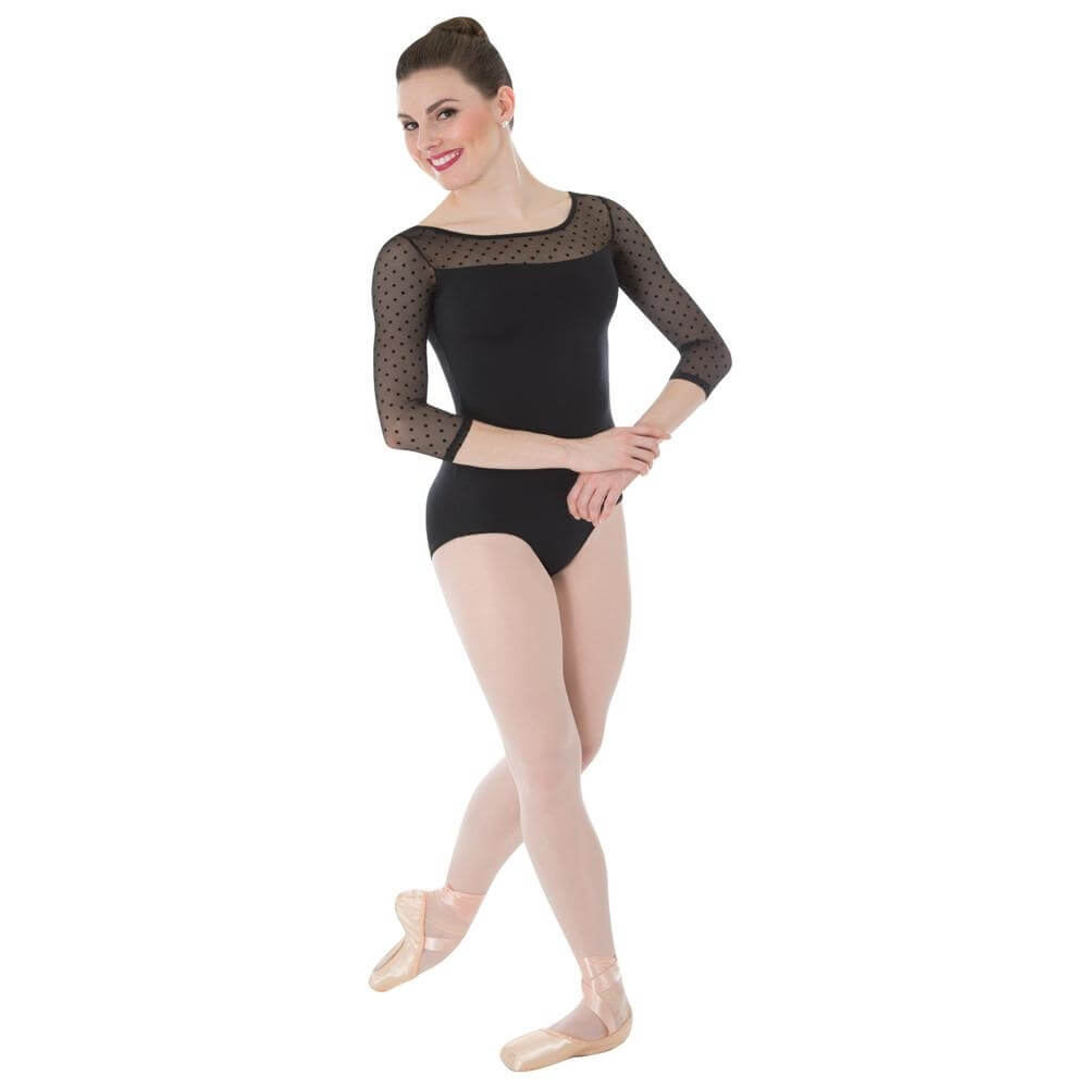 Body Wrappers / Tiler Peck Designs Dotted 3/4 Sleeve Leotard