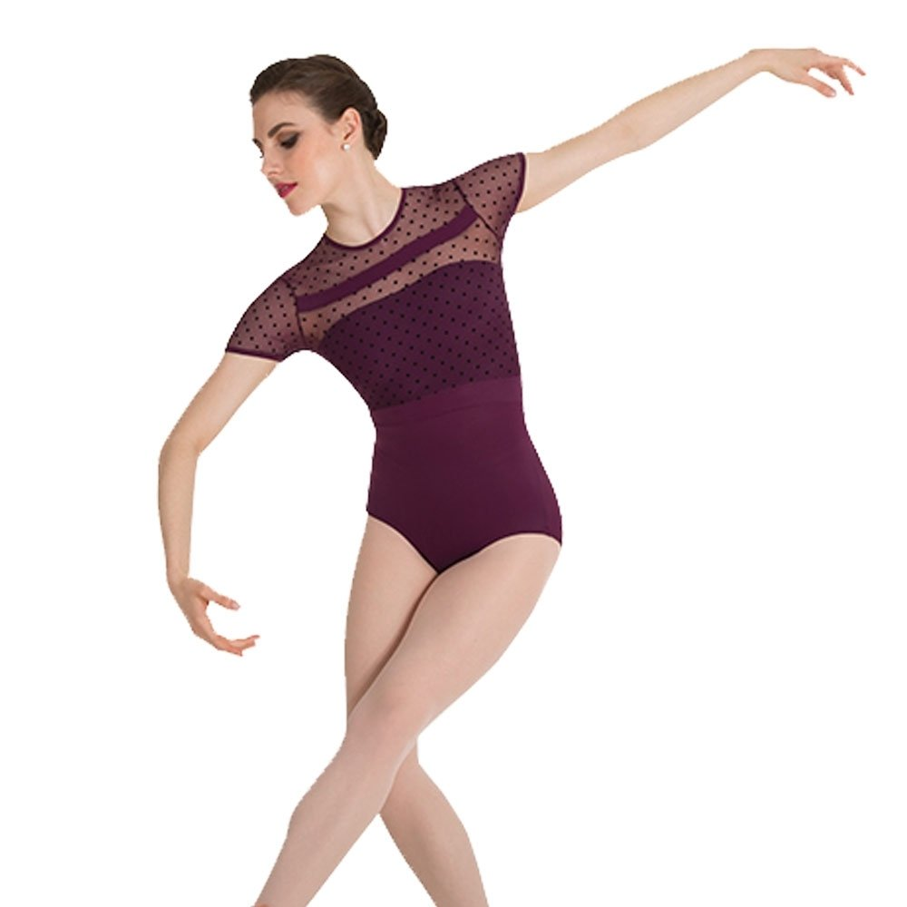 Body Wrappers Dotted Cap Sleeve Leotard