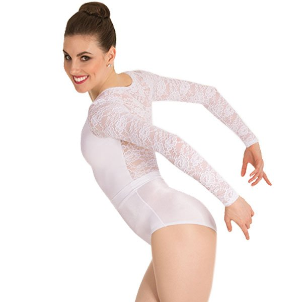 Body Wrappers P1081 Long Sleeve Lace Back Leotard