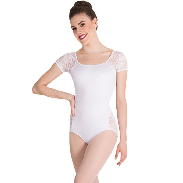 Body Wrappers P1082 Lace Short Sleeve Leotard