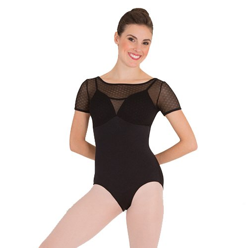 Body Wrappers P1122 Petite Floral Mesh Camisole Leotard