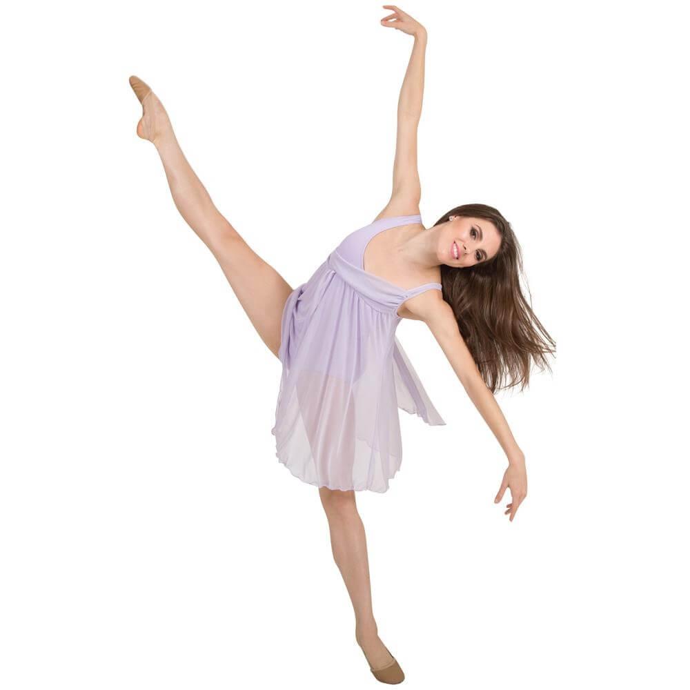 Body Wrappers Asymmetrical Bust Drape Dance Dress