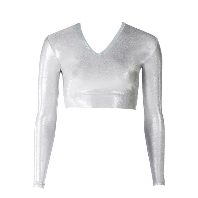 Cheer Fantastic Metallic V-Neck Midriff