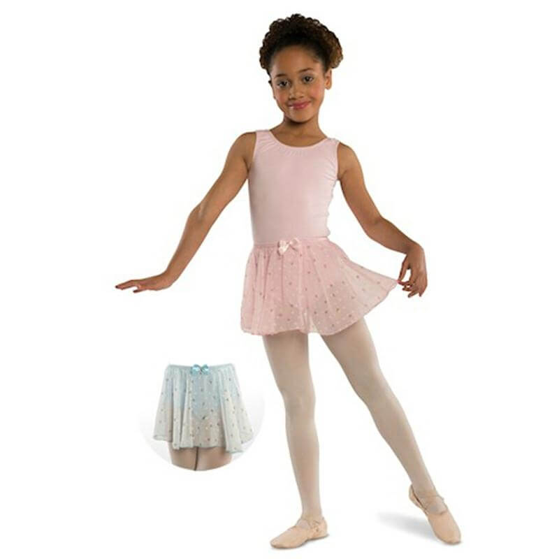 Danshuz Child Chiffon Circle Skirt With Bow And Rhinestone Accent