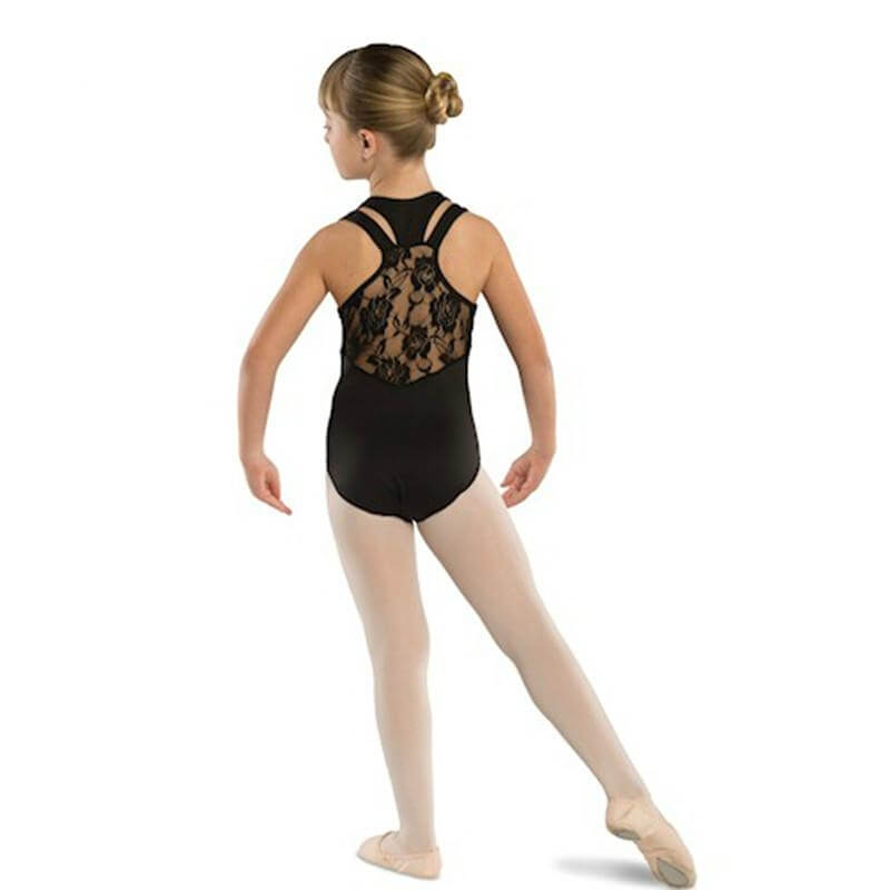Danshuz Child Racer Back Leotard With Lace Accent Back