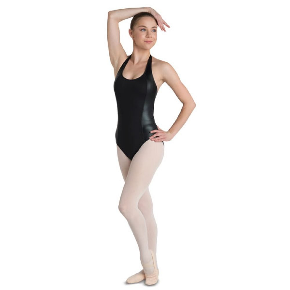 Danshuz Halter Leotard With Faux Leather