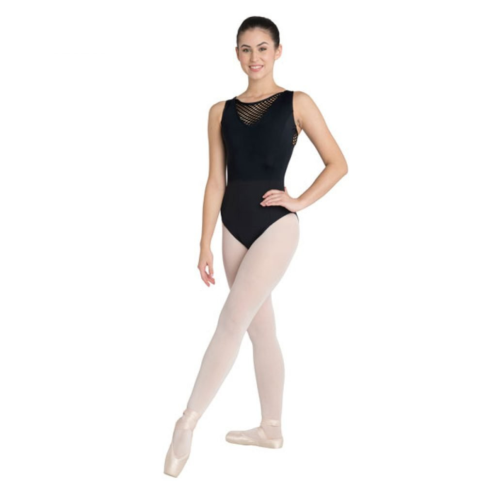 Danshuz V-Neck Large Hole Mesh Leotard