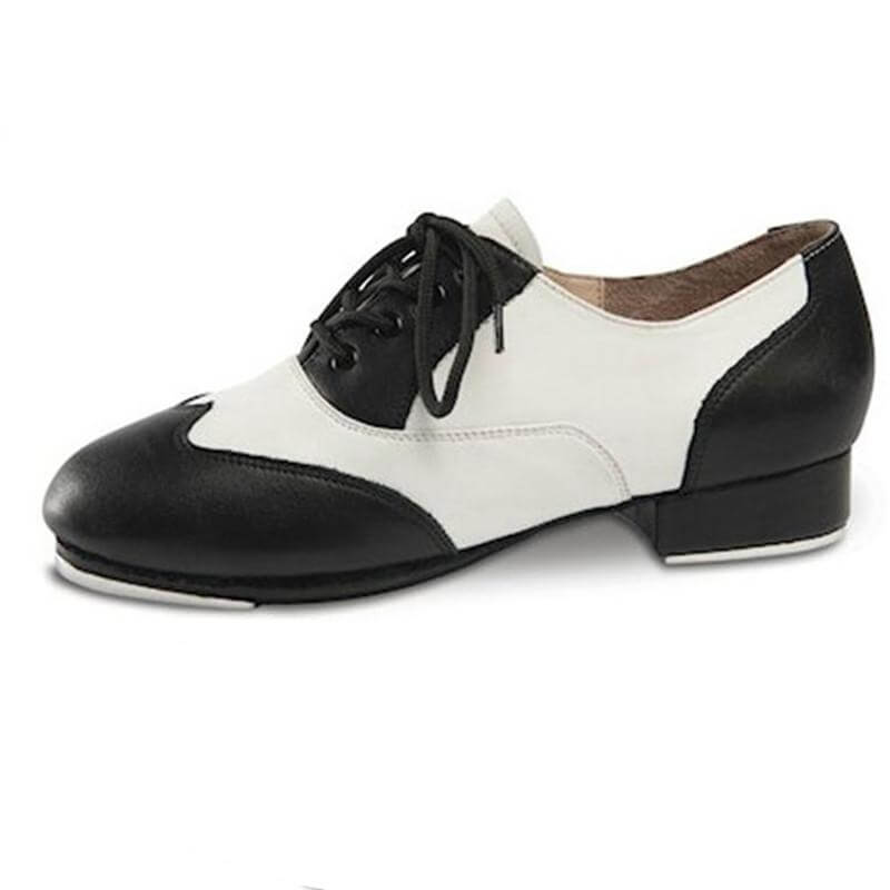 Danshuz Child Black/White Applause Leather Lace Up Tap Shoe