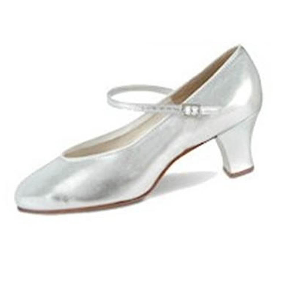 "Danshuz 2"" Heel Silver Musical Comedy Leather Character Shoe"