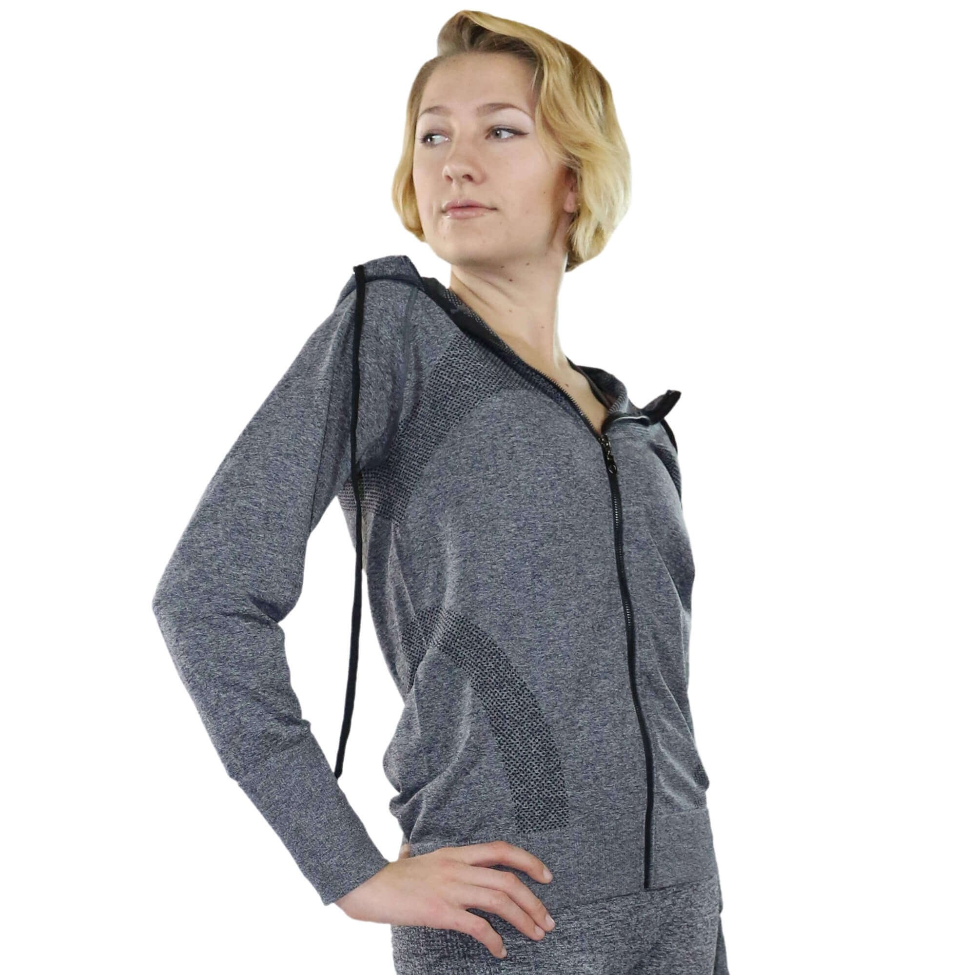 Fitcue Women's Full Zip Workout Hoodie - Click Image to Close