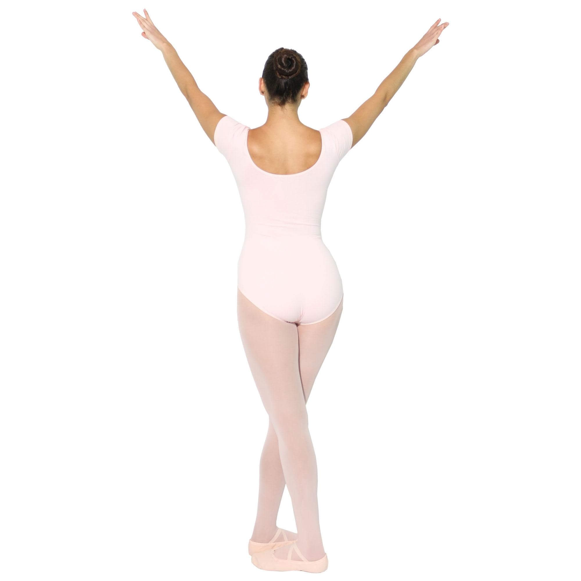 danzcue adult pink cotton short sleeve ballet cut leotard