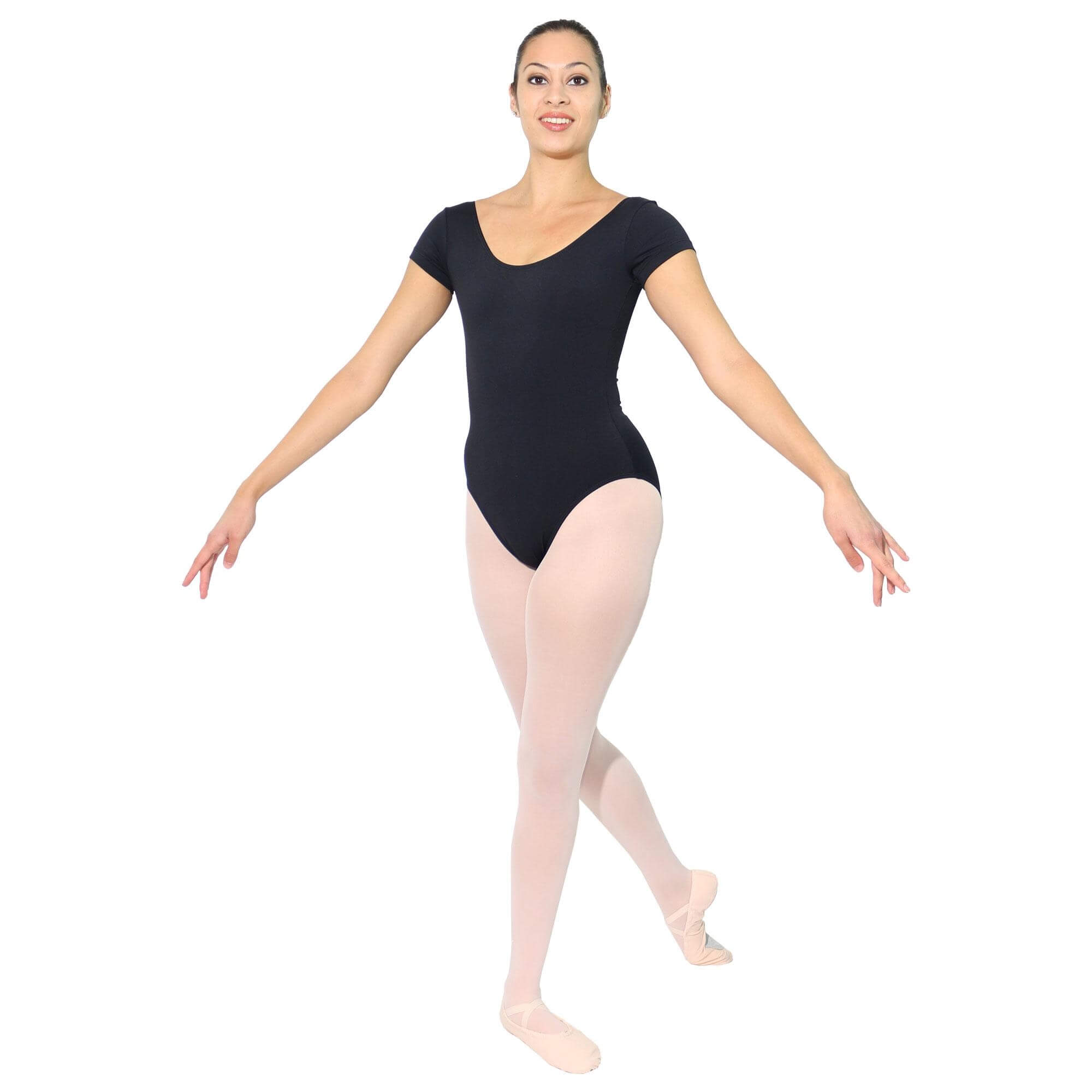 Danzcue Adult Cotton Short Sleeve Ballet Cut Leotard