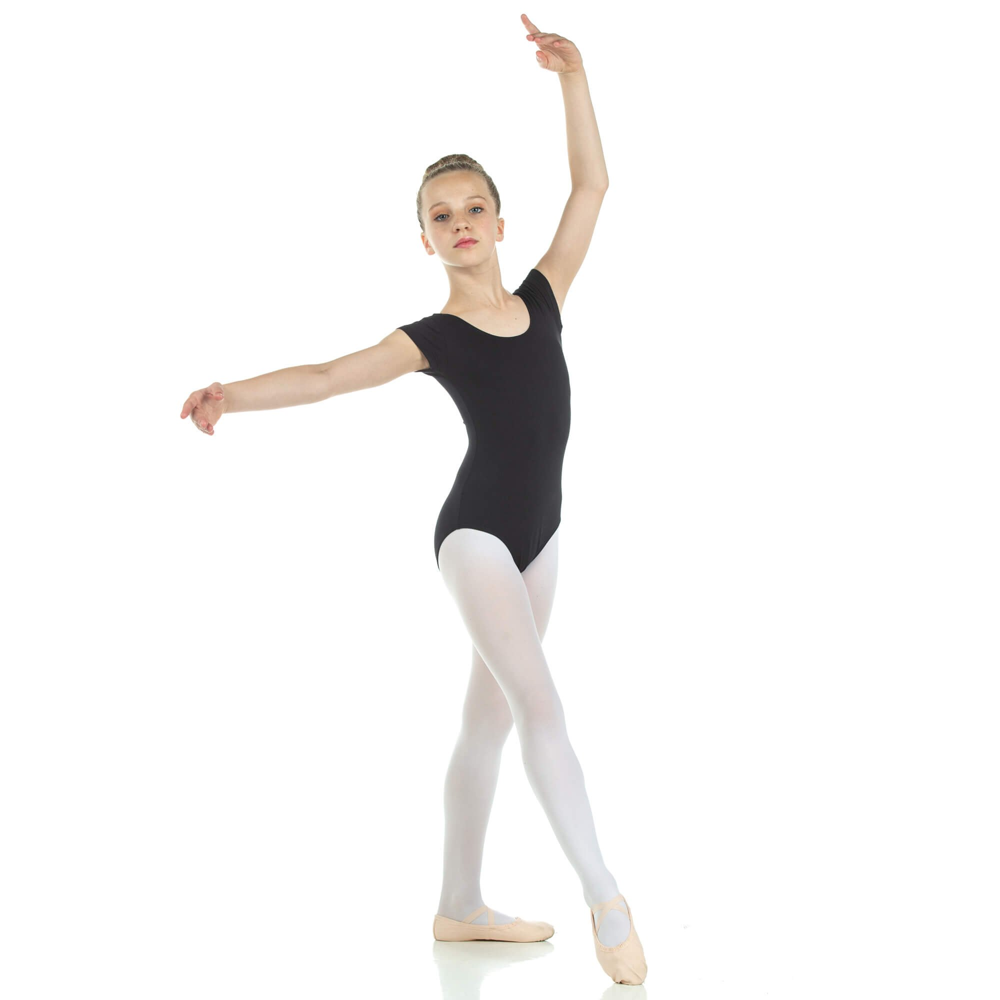 Danzcue Child Nylon Short Sleeve Ballet Cut Leotard