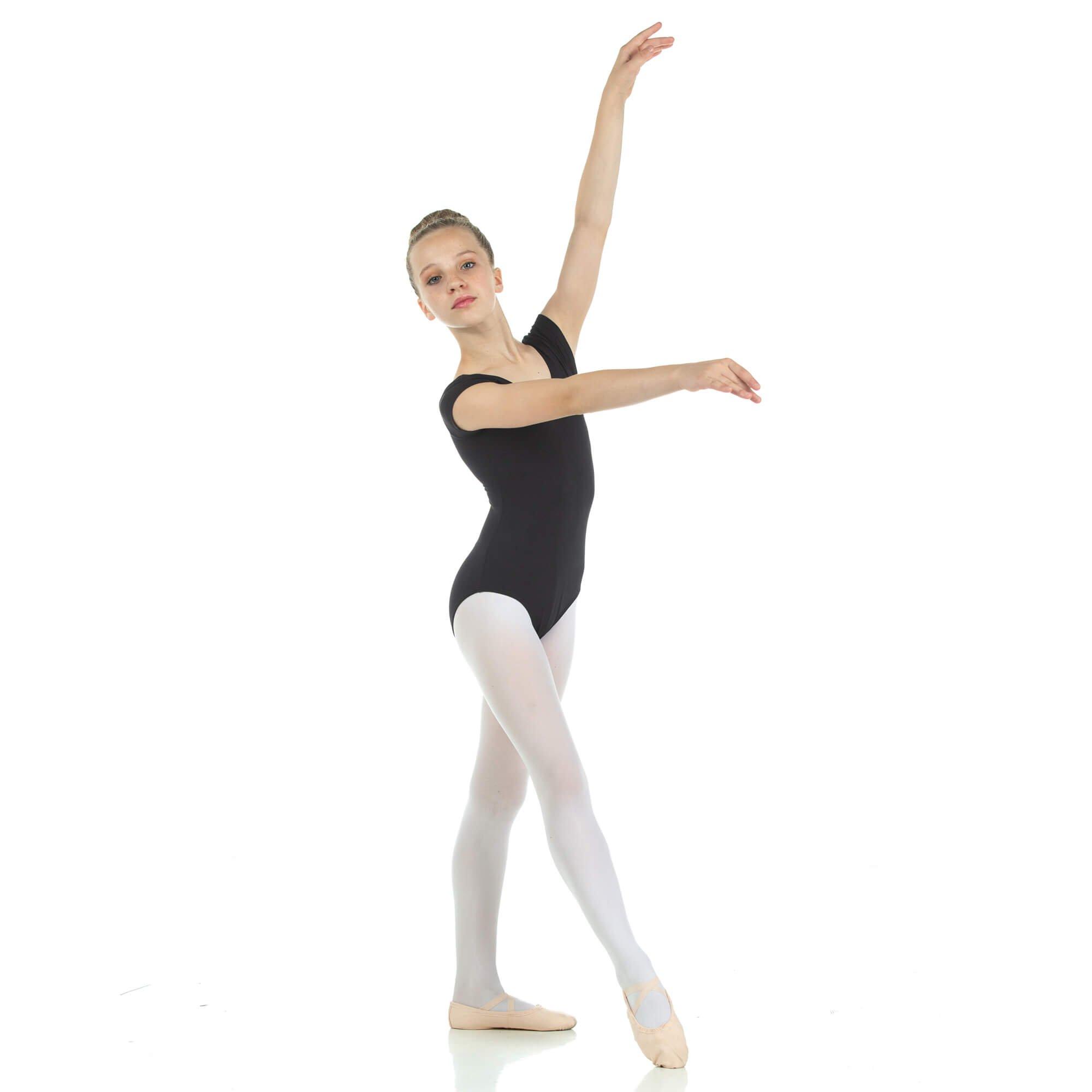 danzcue child nylon short sleeve ballet cut leotard