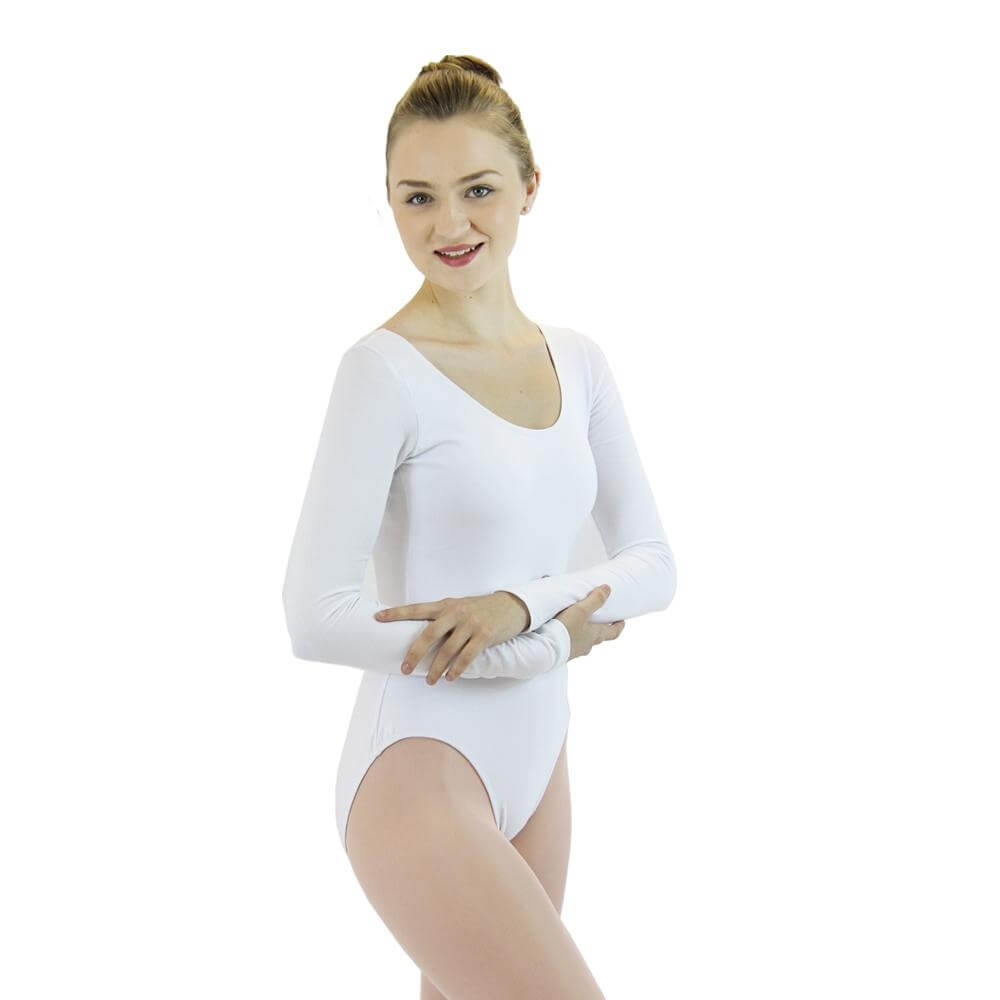 3fc16cf7fe Danzcue Adult Cotton Long Sleeve Ballet Cut Leotard