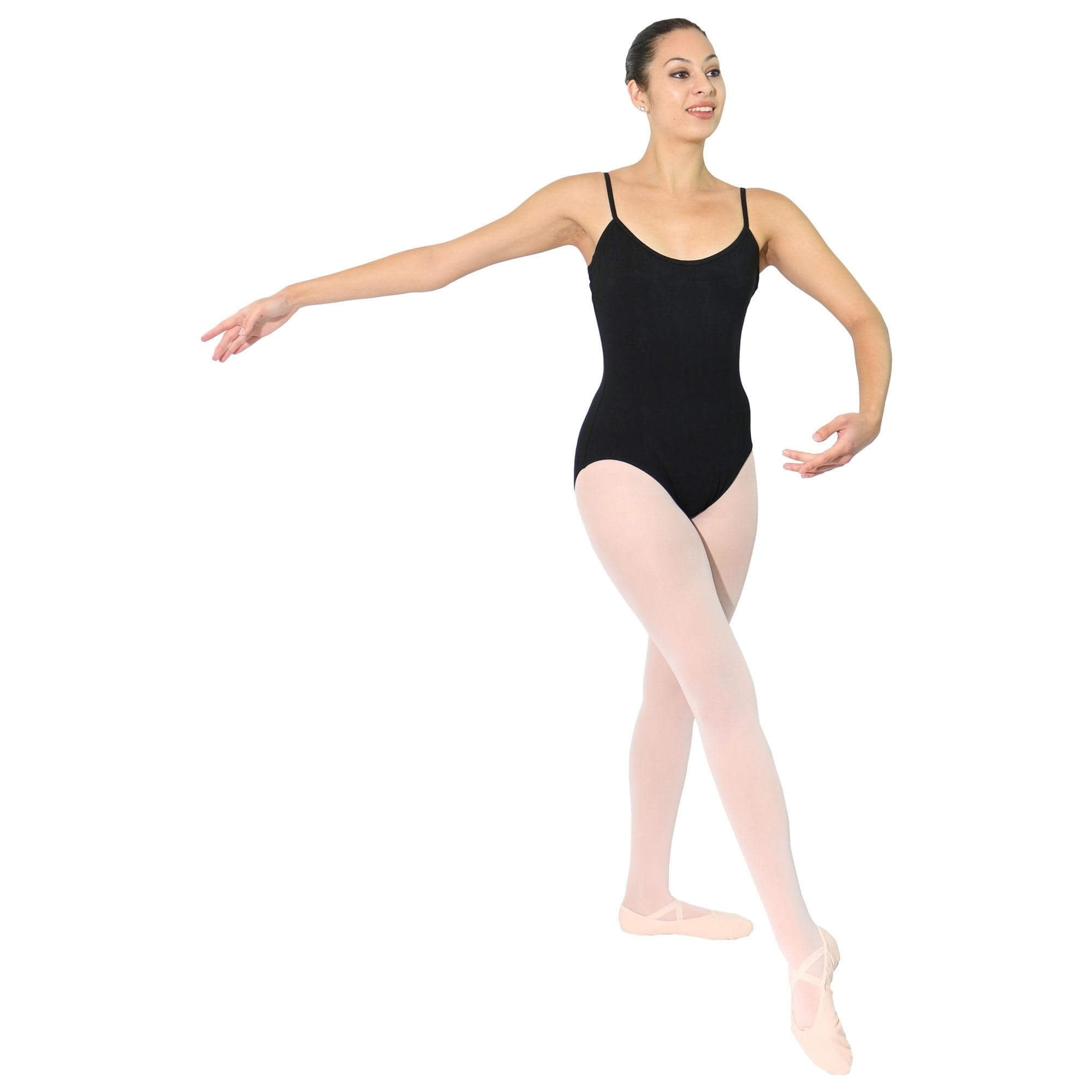 Danzcue Adult Black Ballet Cotton Camisole Leotard