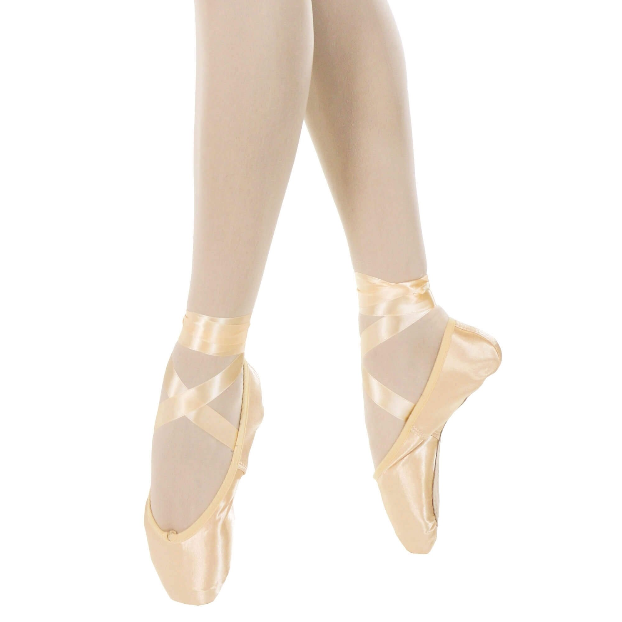 7758206356e Danzcue Womens Standard Hard Shank Pointe Shoes With Ribbon