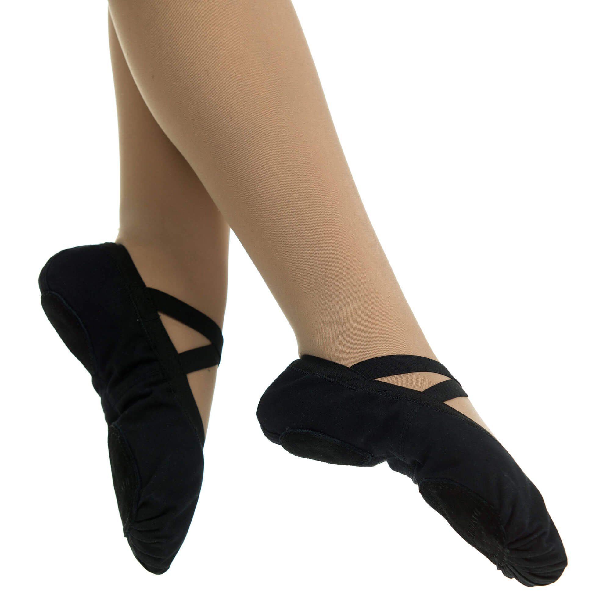danzcue adult canvas pro elastic split sole ballet sliper