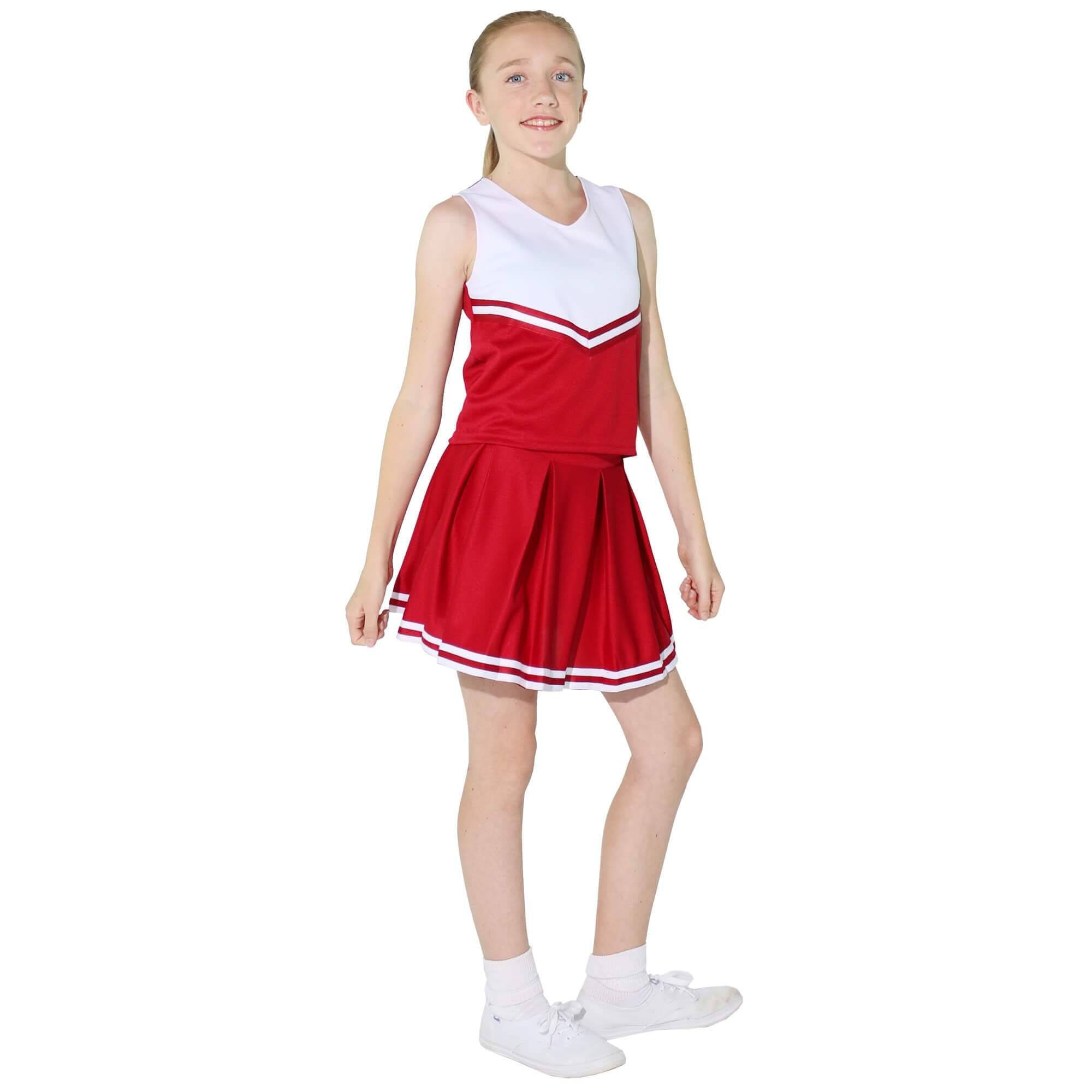Danzcue Child V-Neck Knit Pleat Skirt Cheerleaders Uniform Set