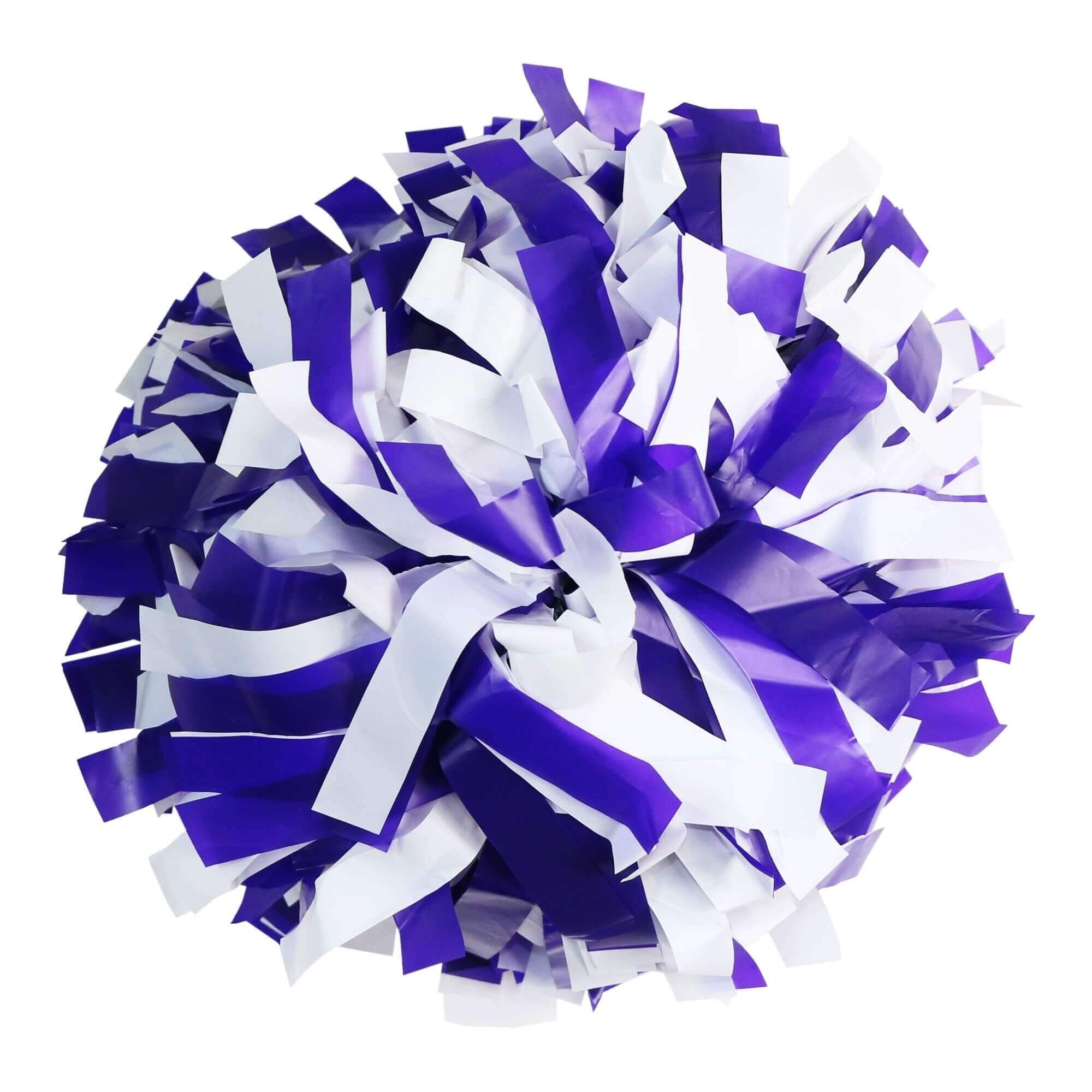 Danzcue Purple/White Plastic Poms - One Pair