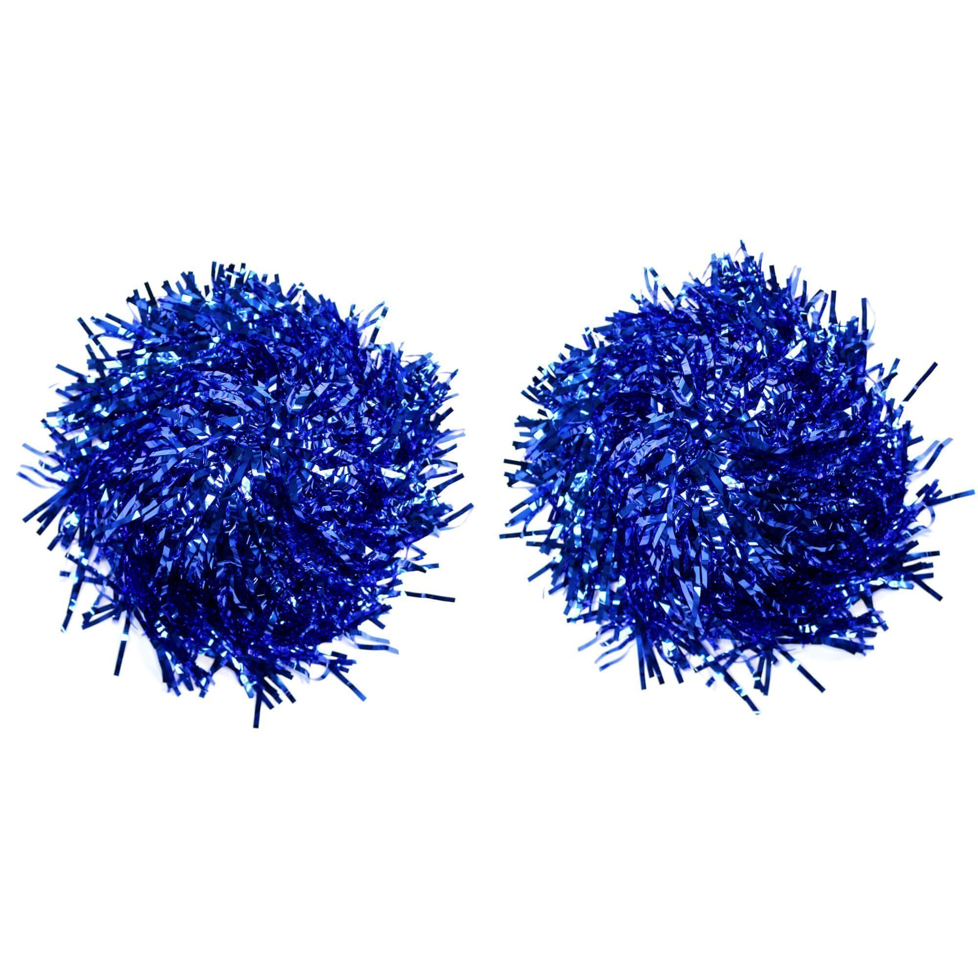 Danzcue 2 of Blue Metallic Cheerleading Pom w/ Baton Handle