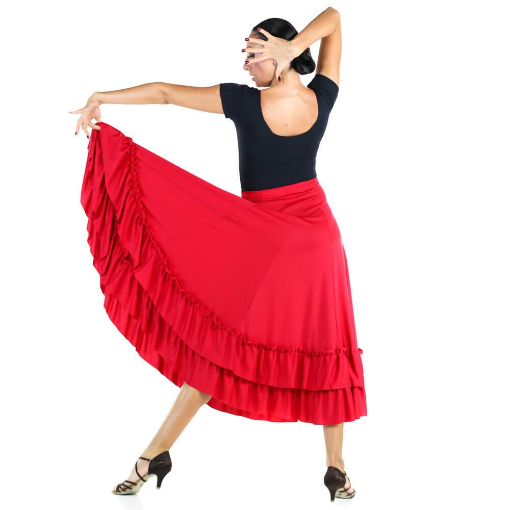 94ff8252b159 Danzcue Adult Two Ruffles Flamenco Dance Skirt