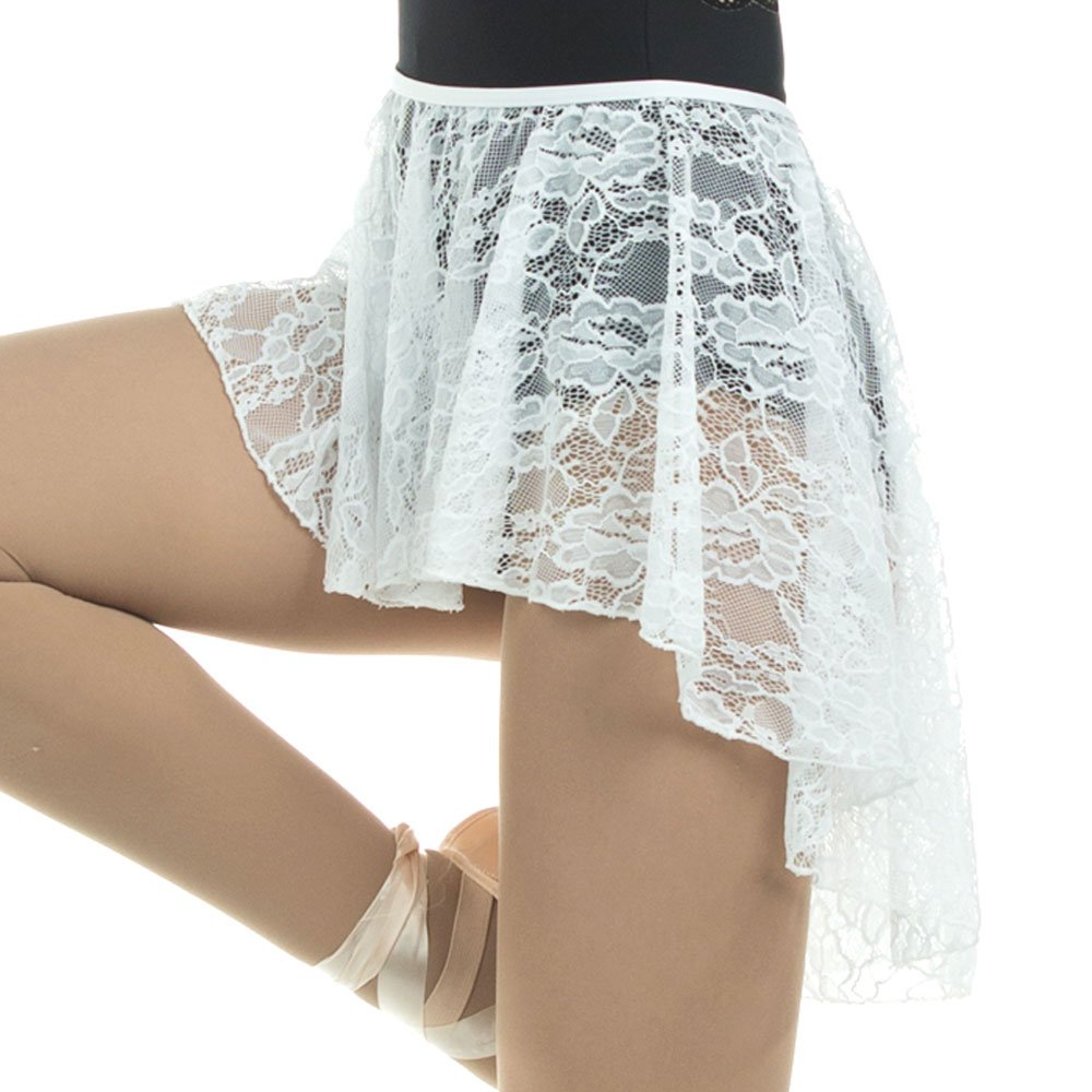 danzcue adult ballet dance skirt stretch asymmetrical lace high-low hemline