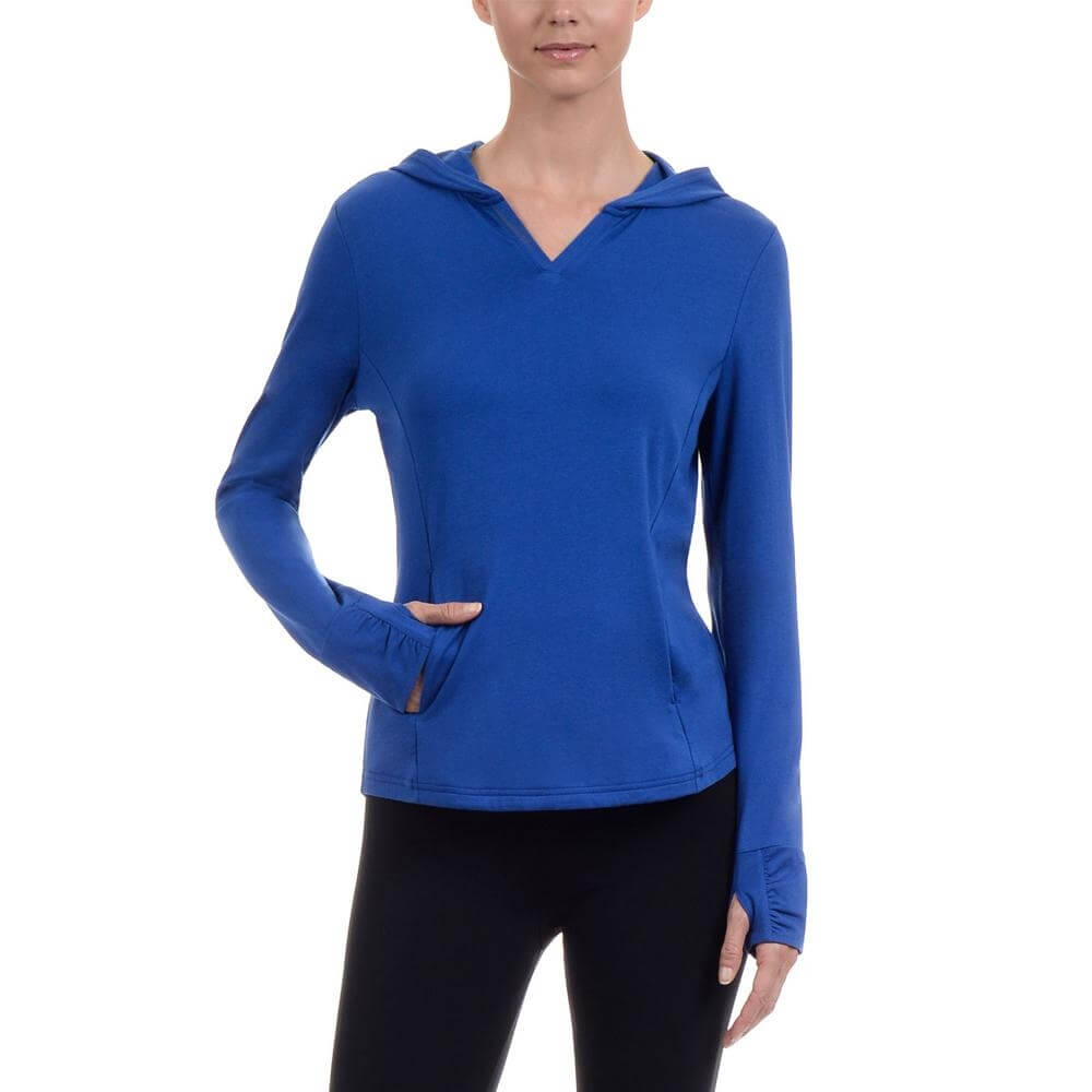 Danskin Women Yoga Shirred Cuff Hooded Top