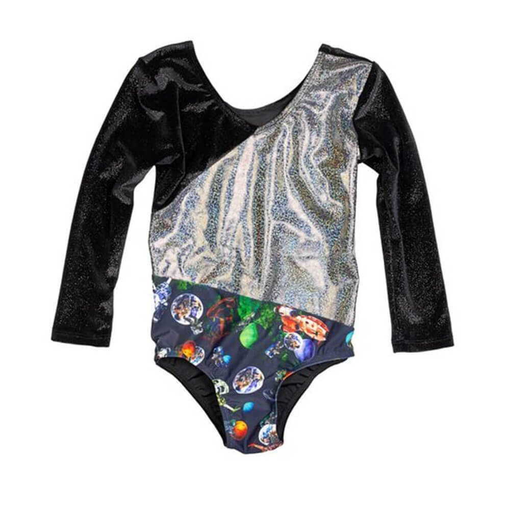 Girl Power Space 3/4 Sleeve Stretch Velvet Leotard