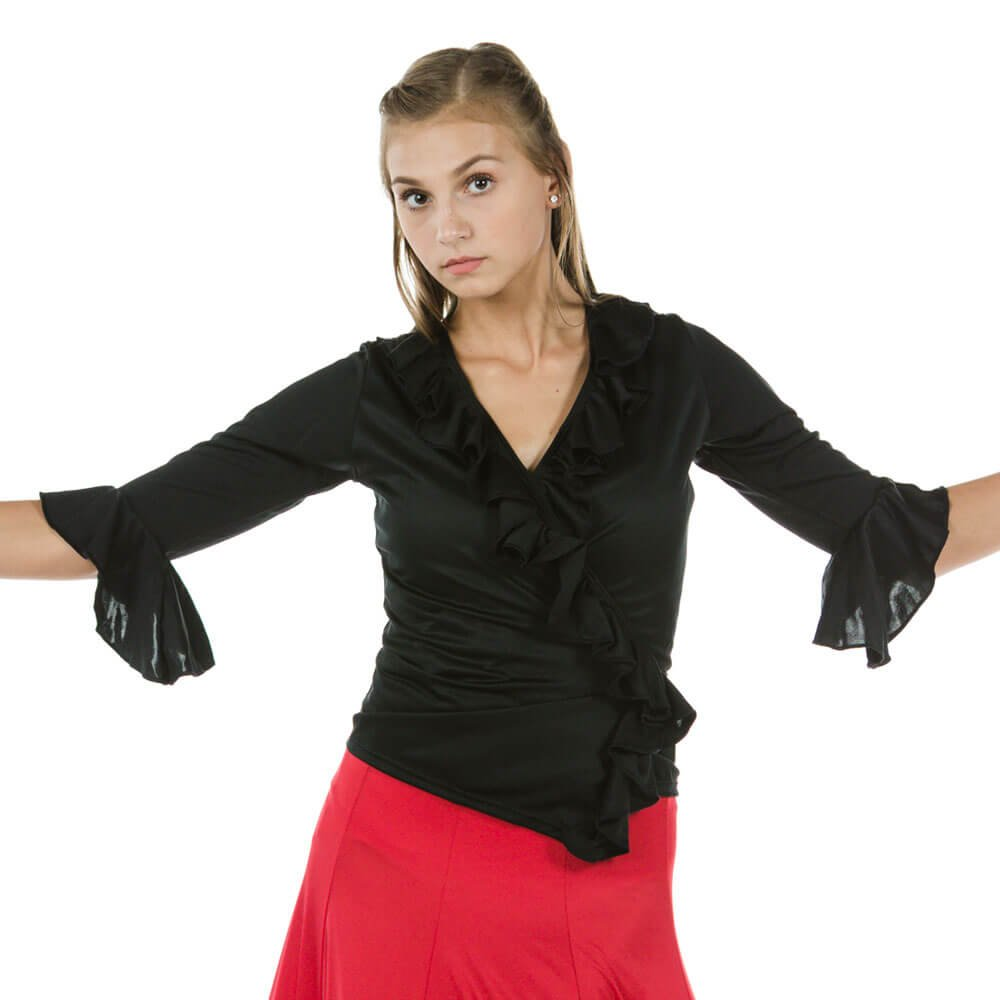 Happy Dance Long Sleeve With Irregular Ruffle Crossover Flamenco Top