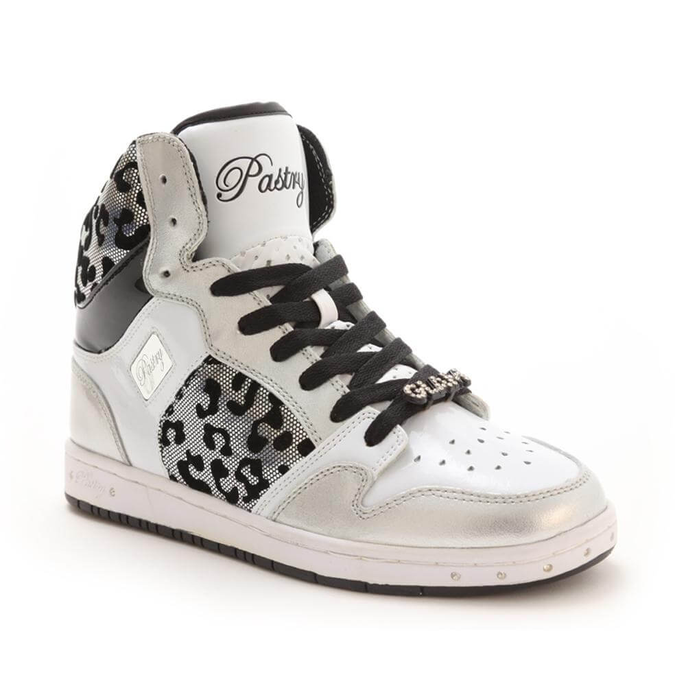 "Pastry Dance Adult ""Glam Pie"" Foil Silver Cheetah Sneaker"