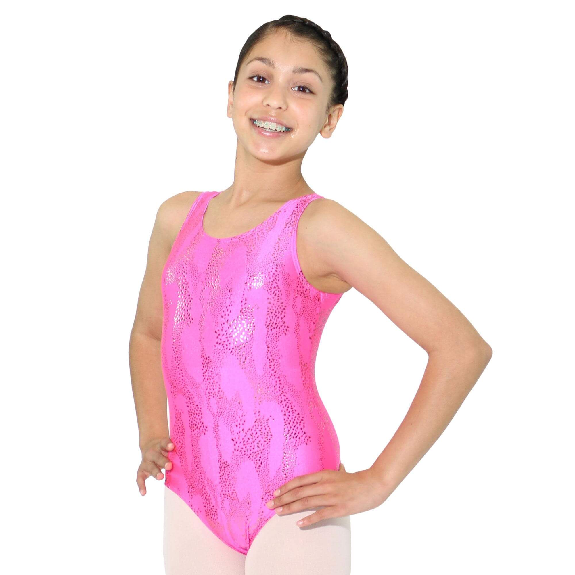 Reflectionz Color Metallic Zebra Leotard