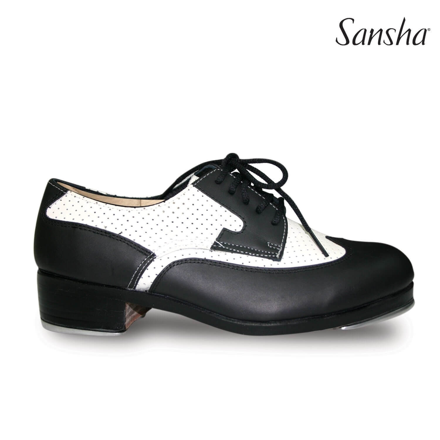 Sansha Leather Classic Two-Tone Tap Shoes with Perforated Design