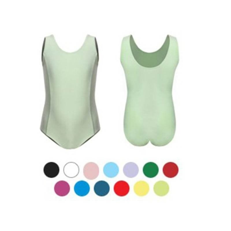 Sansha Child Light Blue Two Front Princess Seams Cotton Tank Leotard