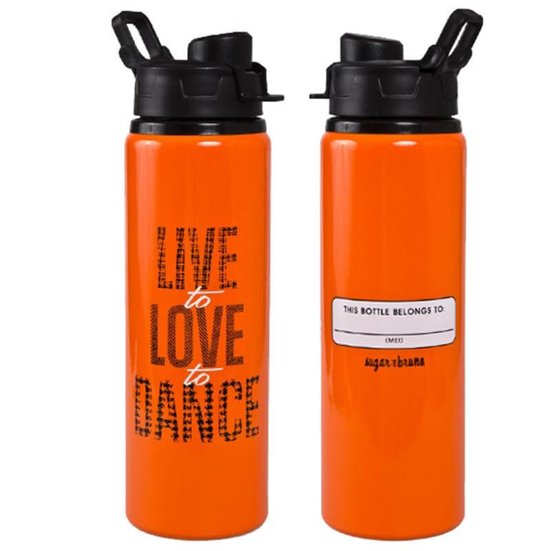 Sugar and Bruno Live to Love to Dance Water Bottle