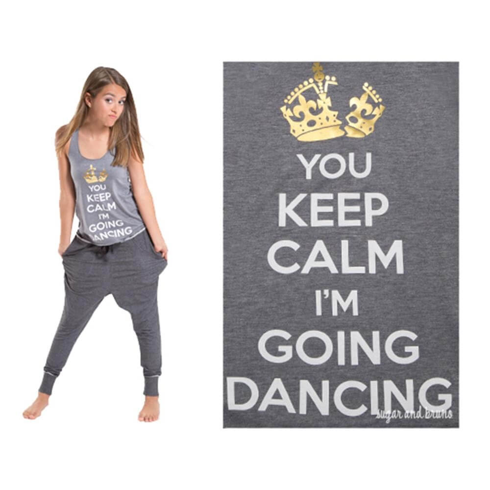 Sugar and Bruno You Keep Calm Racerback Tank Top