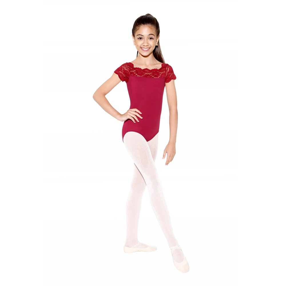 SoDanca Child Cap Sleeve Leotard With Scalloped Lace Neckline