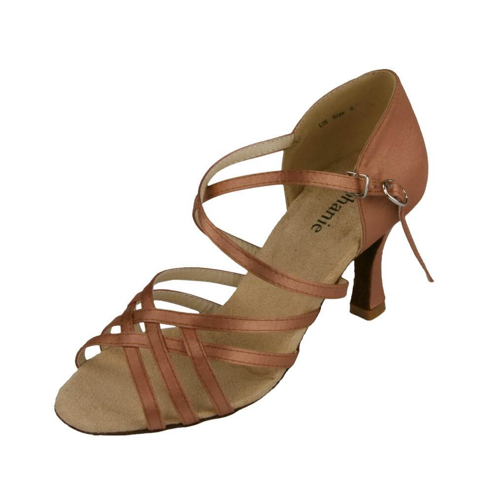 "Stephanie Ladies Dark Tan Satin 2.5"" Heel Ballroom Shoe"