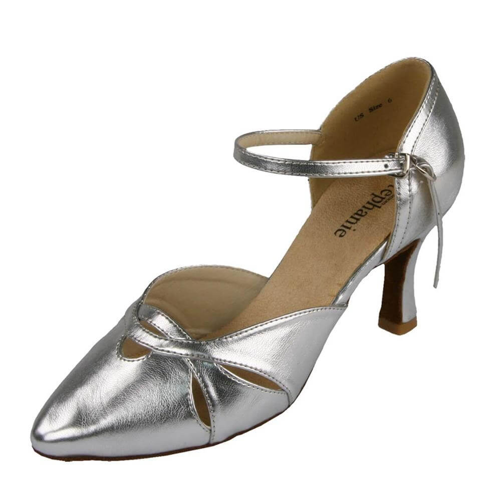 "Stephanie Ladies Silver Leather 2"" Heel Ballroom Shoes"