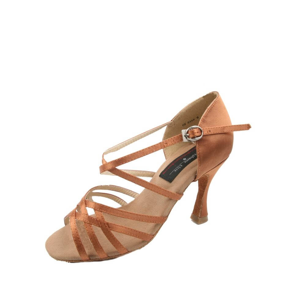 "Stephanie Ladies 2.5"" Heel Dark Tan Satin Elite Dance Shoes"
