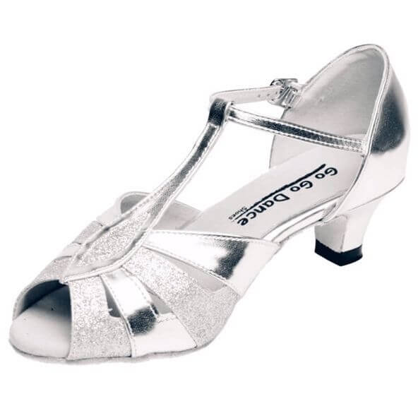 "GOGO Ladies Silver Leather T-Strap 1.3"" Heel Ballroom Shoe"